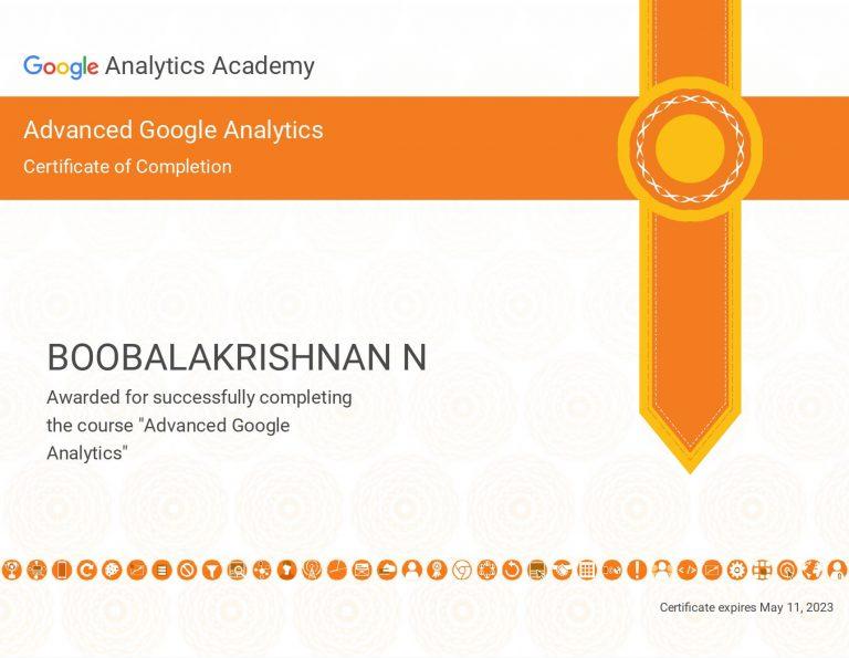 Boobalan Google Analytics Advance, SEO Freelancer Chennai