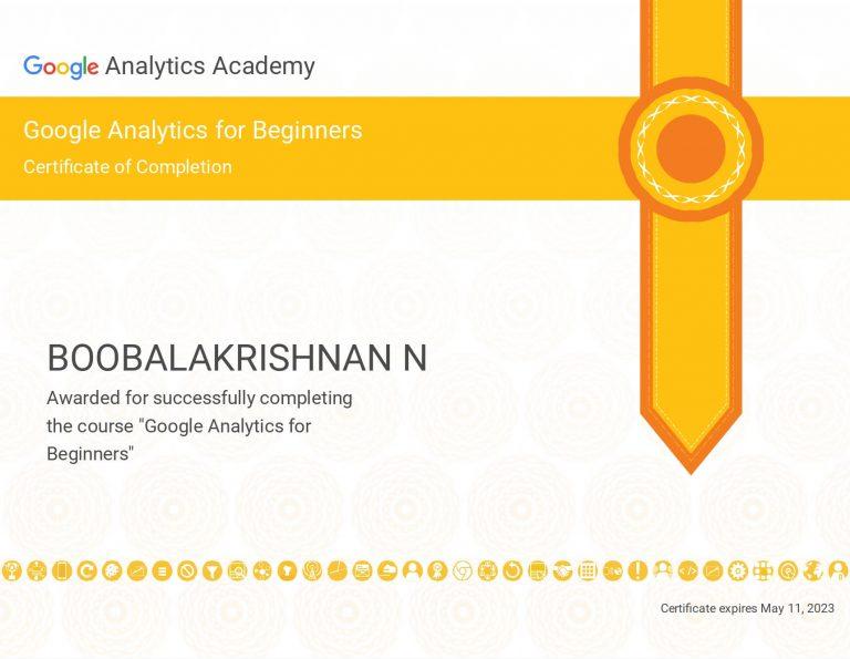 Boobalan Google Analytics Beginner